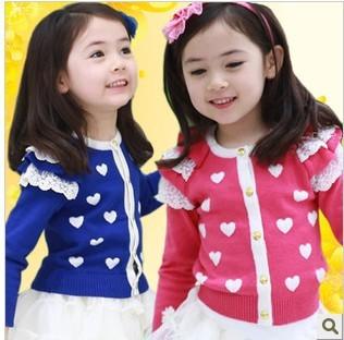2013 autumn models girls baby long-sleeved cardigan jacket  Xiaotao heart