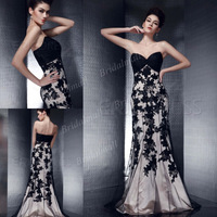 Free Shipping Elegant Sweetheart Floor Length Mermaid Prom Dress 2013 With Appliques POD-5493