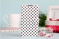 Polka Dot leather!New sweet flip cover case for SAMSUNG Galaxy S4 I9500(5pcs/lot)