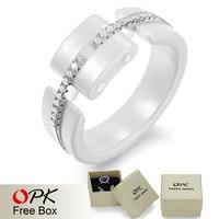 OPK FINE JEWELRY 2013 New Arrival Sterling Silver Plated Platinum Ring CZ Diamond  Ceramic  Women Ring Elegant Gift 237