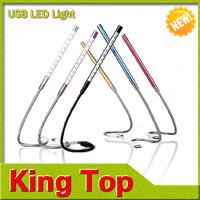 Metal frame! 2PCS/LOT Free Shipping 10LED High Light USB LED Light,Reading Lamp,6 Colors(White/Purple/Champagne/Black/Red/Blue)