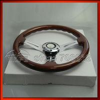 SPECIAL OFFER HIGH QUALITY Deep Corn / Dish Steel Spokes 350MM Wood Racing Car Steering Wheel