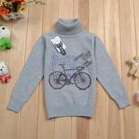 New 2013 spring autumn fine cotton turtleneck boy girl children fashion sweater Gray and white Szie:3T-6 Fast shipping