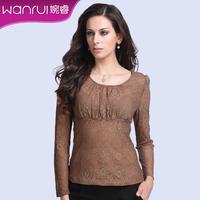 2013 New Fashion Autumn OL O-Neck Long sleeve Slim Blouse For Women Lace Shirt Plus Size Tops Brand Clothing XXXL 2353