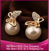 B106 fashion gold-plated butterfly pearl earrings