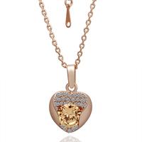 Hot Handmade Yellow Crystal Heart Pendant Necklace 18K Rose Gold Women Perfume Deal Man Turkish Jewelry 18KGP N044