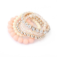 Stackable Bangles Korean Version Of Sweet Lady Love Fashion Spell Color Beads Multilayer Metal Single-row Bracelet