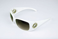FREE SHIPPING Unique UV 400 Women Luxury Brand Rhinestone Bling Sunglasses CH 8088 WHITE