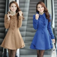 2014 winter baimuer laciness medium-long wool coat woolen outerwear women's woolen overcoat