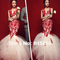 Freee shipping,Sexy deep lace V-neck. red princess bride fish tail wedding dress formal dress new arrival ,Direct manufacturers