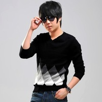 2013 autumn male sweater personality slim basic shirt male thin top Men's sweaters  Free Shipping