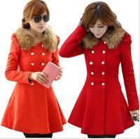 Winter women's fashion double breasted slim woolen outerwear wool collar woolen overcoat