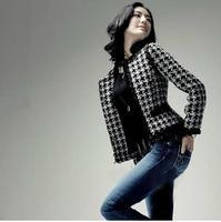 2013 women's outerwear houndstooth woolen pinioning short jacket ol elegant blazer