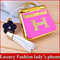 2013 New Lady's Luxury Mini Flip Mobile Phone MP3 FM Russian Keyboard Dual Sim Card Quad Band Christmas Gift