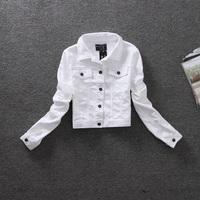 free shipping three colors size S, M, L high quality fashion long-sleeve slim turn-down collar women short denim jacket WLJ13012