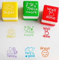6pcs/set Teachers Stampers Self Inking Praise Reward Stamps Motivation Sticker School