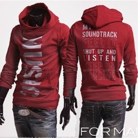 Free Shipping New winter men's coat fashion printing letters hedging hooded sweater men