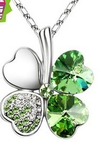 World Free Shipping! ! HOT HOT !!  Clover SWA Crystal Multiple Colors Pendant Necklace