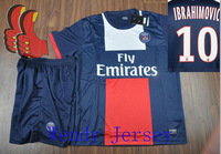 A+++ Ibrahimovic Kids Thai PSG Paris St German 2014 New Home Thailand Soccer Suit Football Shorts Kit Soccer Shorts Custom Name