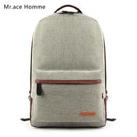 "Mr . ace preppy style fashion linen women backpack 14"" laptop bag school backpack outdoor travel bag"