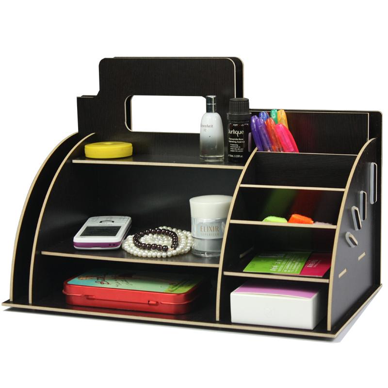 wood desktop storage rack cosmetic shelf storage box block