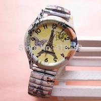 B026- Fashion Scalable spring strap Quartz Watch Vintage  Eiffel Tower flower bracelet watches for women free ship