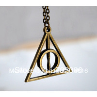 Free Shipping! Antique Bronze Harry Potter - Deathly Hallows charm pendant necklace