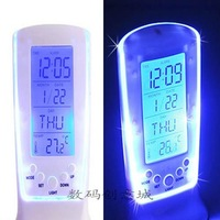 Fashion Creative Blue LED Backlight Multi-function Digital Music Calendar Thermometer Alarm Clock Home & Decor Good Gift