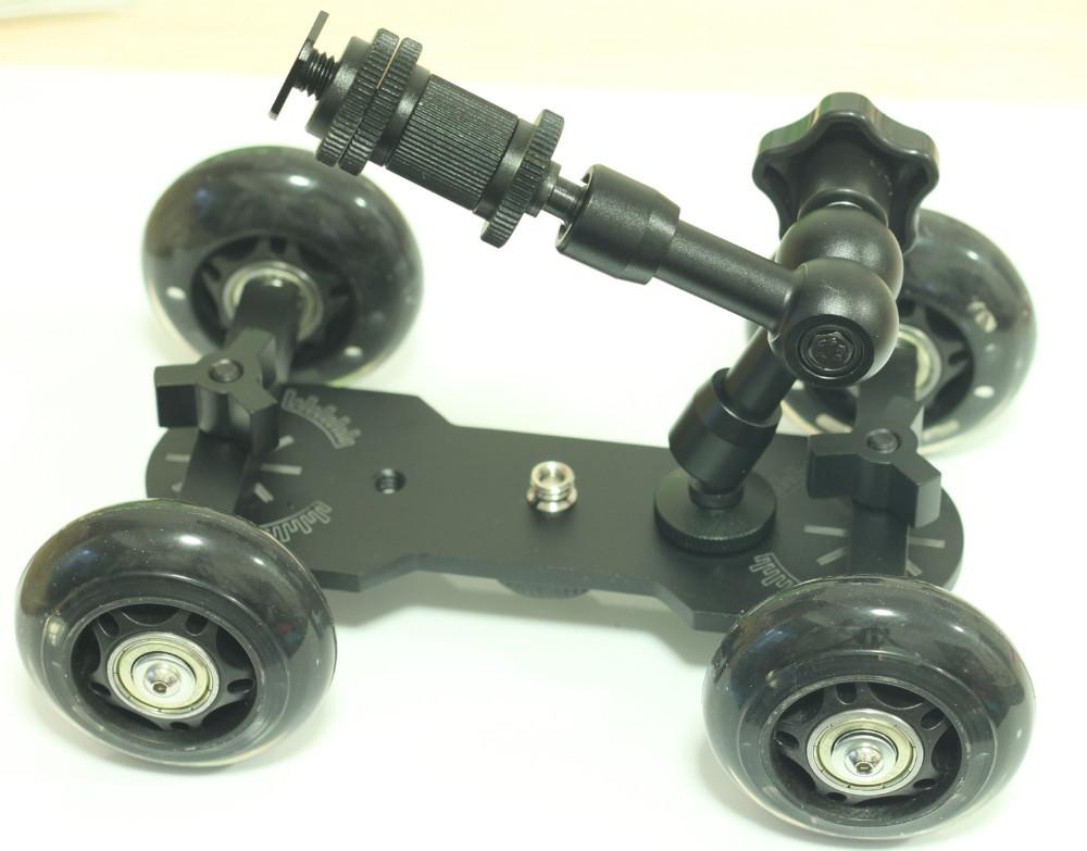 7 inch Articulating Magic Arm + DSLR Skater Wheel Camera Truck Top Dolly Kit black(China (Mainland))