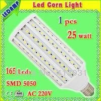 e27 led 25w warm white lighting bulb_165 leds 5050 smd 360 degree led corn bulb light ac 220v free shipping