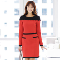 High quality women's 2014 autumn one-piece dress ol elegant plus size long-sleeve slim hip skirt