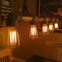 Luxury Vintage Antique Silk light bulb vintage water pipe pendant light e27 pendant light bar table  Europe Style