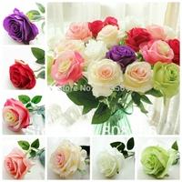"HOT 32Pcs 50cm/19.69""  Length  Seven Colors Artificial Silk Flowers Simulation Roses Multilevel Single Rose Wedding Flower"
