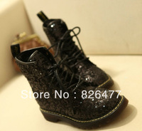 2013 Womens Winter Sequin genuine leather martin boots women velvet fabric lacing lace up women's ankle boots punk cotton shoes