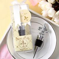 Chrome Fleur de Lis Wine Bottle Stopper 100PCS/LOT wedding favors guest gifts Free shipping