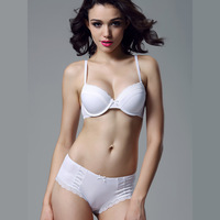 New 2014 Women's Sexy Autumn Underwear Set Women Comfortable Thin Cup White Silky Fashion Sexy Bra Sets Free Shipping