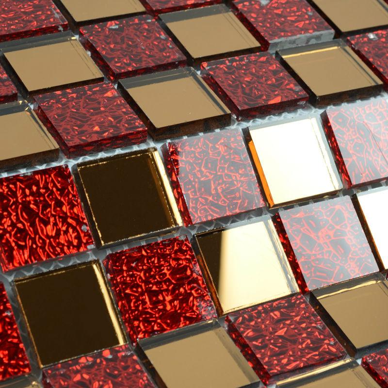 Spiegel tegel backsplash keuken rood glas moza ek tegel helder kristal moza eken spiegelwand - Rode mozaiek tegel ...