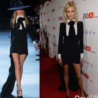 Free Shipping 2013 Top Grade Fashion Runway Sexy Dovetail Black Full Designer Long Dress  Women