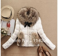2013 New winter luxury large raccoon fur collar duck feather down coat ladies down Short jacket coat outerwear 6colors