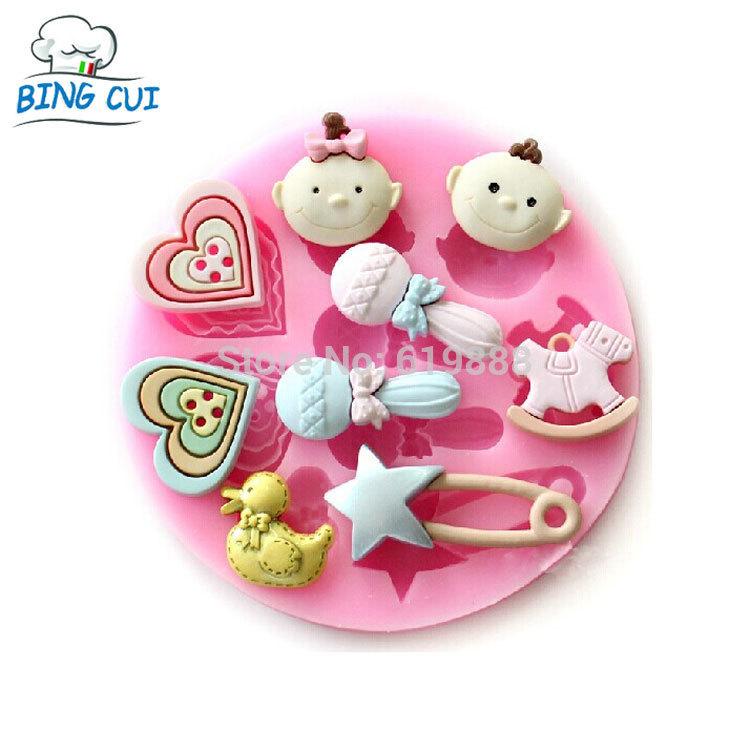 Baby & Trojan Horse & microfone e Duck & forma botão calor moldes de Silicone bolo Fondant de Chocolate Mould bolo ferramentas Q045(China (Mainland))