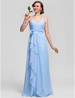 Lost in City Nights! Party Dress Prom Dress Sheath/Column V-neck Floor-length Chiffon Bridesmaid Dress