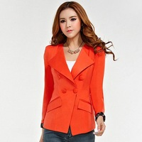 S,M,L,XL Free Shipping 2013 autumn blazers women's shoulder pads double bag medium-long slim blazer outerwear suit rlf909