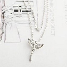 LZ Jewelry Hut N230 N231 The 2014 New Wholesale Fashion Rhinestone Angel Womens Pendant Necklace For
