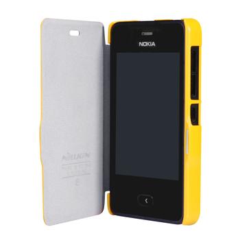 100% Original Nillkin Leather Case For Nokia Asha 501  Nokia 501 Case Cover +Gifts