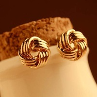 2013 Gold round stud earrings Fashion alloy earring fashion jewelry gold plating alloy stud earring popular punk earring