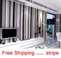 Wallpaper modern brief black and white vertical stripe tv background PVC wall paper bedroom living room bedside restaurant roll