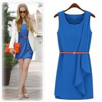 2013 New fashion ladies's dress Asymmetrical knee length chiffon Free belt women dress free shipping for summer spring autumn
