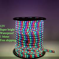 High quality  IP65 Waterproof  flexible led strip light  12V SMD 3528 RGB led flashlight tape 60 leds/M  1Meter led roll