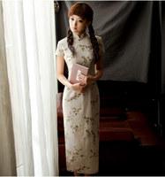 2014 new autumn fashion design linen long cheongsam vintage high quality linen Chinese style cheongsam qipao dress