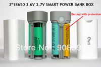 2014 NEW Enb 3*18650 battery Box Shell SMART POWER BANK Case for iPhone 5s for Samsung GALAXY S5 cell phones with LCD light